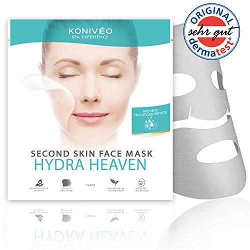 KONIVÉO Premium Tuchmaske 'Hydra Heaven': feuchtigkeitsspendende Gesichtsmaske - Vliesmaske mit Hyaluronsäure für trockene, empfindliche Haut I Dermatest Note