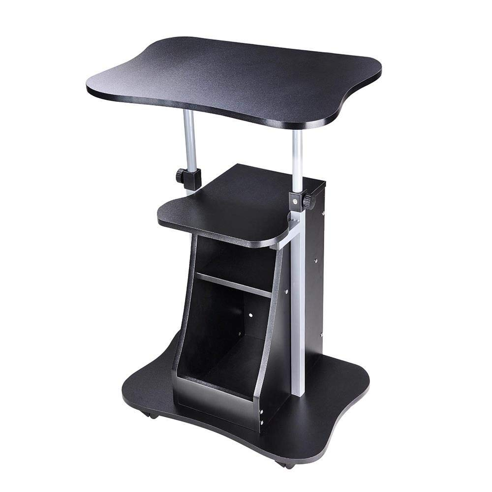 Seleq Adjustable Black Rolling Standing Desk for Laptop