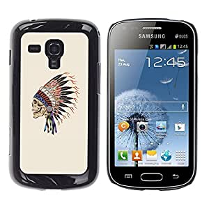 Shell-Star Arte & diseño plástico duro Fundas Cover Cubre Hard Case Cover para Samsung Galaxy S Duos / S7562 ( Indian Feathers Skull Native American )