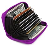 Zhoma RFID Blocking Genuine Leather Credit Card Case Holder Security Travel Wallet - Purple