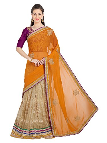 - Viva N Diva Saree for Women's Embroidered & Stone Work Mustard Georgette Lehenga Saree,Free Size