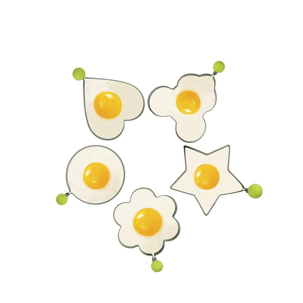 5er-Set Her Kindness Cooking Tool F/ür Spiegelei Formen Ringe Ei Unterschiedliche Formen Aus Edelstahl Mit