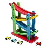 Toy Vehicles Wooden Puzzle Building Slot Track Rail Transit Parking Car Set
