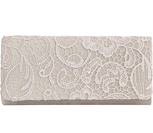 Jubileens Women's Elegant Floral Lace Evening Party Clutch Purse Bridal Wedding Handbag (Champagne)