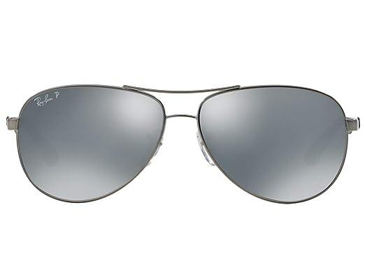 7877a390450e Amazon.com  Ray-Ban RB8313 Polarized Carbon Fibre Aviator Unisex Sunglasses  (Gunmetal Frame Polarized Mirror Silver Lens 004 K6