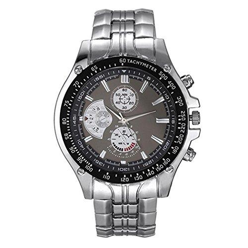 Opino Men Business Watches,Alloy Band Round Analog Quartz Wrist Watch Bracelet Bangle(Black) (Watch Quartz Bracelet Bangle)
