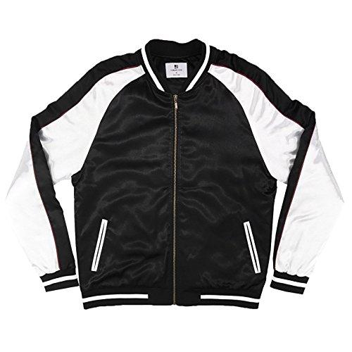 Solid Color Block Satin Baseball Varsity Bomber - Black / (Black Silk Jacket)