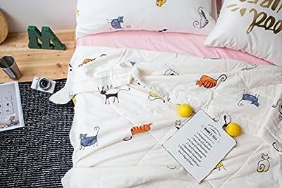 J-pinno Boys & Girls Cotton Muslin Quilt Comforter Bedding Coverlet Twin/Full, 100% Long Staple Cotton Filling, Lightweight Throw Blanket for Kid's Bedroom