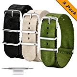 NATO Watch Straps 3 Pack Ballistic Nylon Replacement Watch Bands Military Canvas with Stainless Steel Buckle for Men Casual Classic Watches Accessories 20mm 22mm