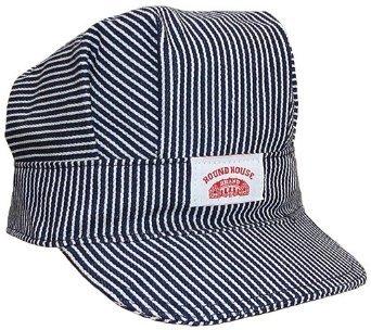 Round House Train Conductor Hickory Striped Engineer Hat - Adult - Made in USA (STRIPE -
