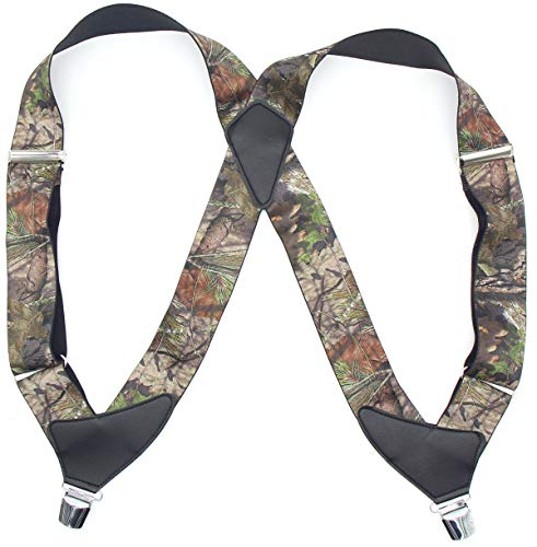 Men's Camo Side Clip Suspenders X-back leather Brace for Hunting/Driver/Policemen/Bikers/Contractors/Work/Tactical/Heavy Duty,2
