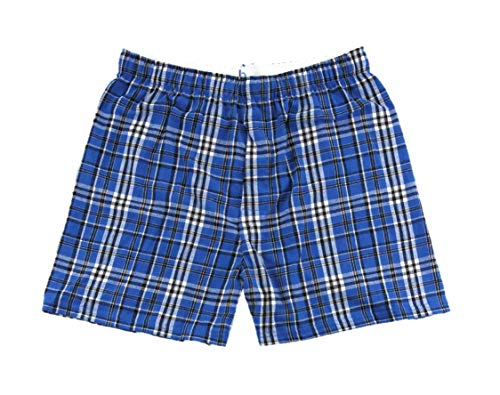 Flannel Boxer Short & HTC Garment Guide, Royal Blue/Black-S ()