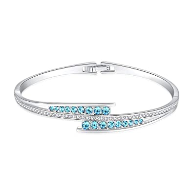 3cba1099c LightTheBo Swarovski Crystals Bangle Bracelets White Gold Plated Hinged  Jewelry for Women Girls
