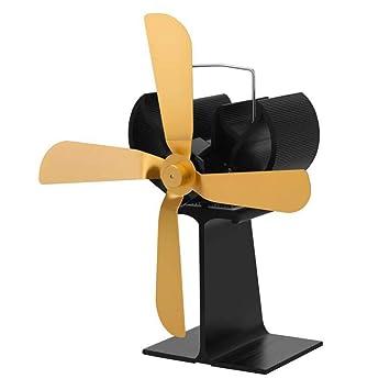 COL PETTI Calentador de leña Estufa de leña Ventilador ecológico Quieto Ultra silencioso Quemador de 4 Cuchillas Chimenea Ventilador Silencioso para el ...