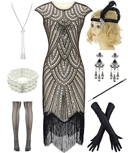 Women 1920s Vintage Flapper Fringe Beaded Gatsby Party Dress with 20s Accessories Set (S, Style 2-Gold)