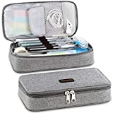 Homecube Pencil Case Big Capacity Storage Oxford Cloth Bag Holder Desk Pen Pencil Marker Stationery Organizer Pencil Pouch with Zipper for School & Office - 8.74x4.3x2.17 inches - Gray: more info