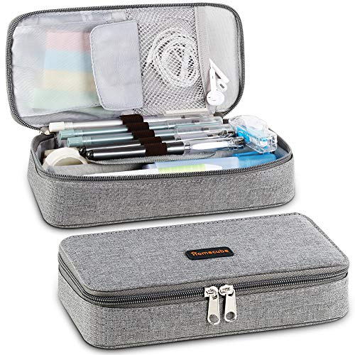 Homecube Pencil Case Big Capacity Storage Oxford Cloth Bag Holder Desk Pen Pencil Marker Stationery Organizer Pencil Pouch with Zipper for School & Office - 8.74x4.3x2.17 inches - Gray (Pencil Cases Small)