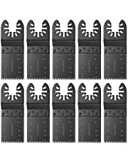 10pcs Metal/Wood Oscillating Multitool Quick Release Saw Blades Set,35mm High Carbon Steel Saw Blades Oscillating Japan Precise Long Tooth Multitool for Fein Multimaster, Dewalt,Porter Rockwell Cable,Black & Decker,Bosch Craftsman and More
