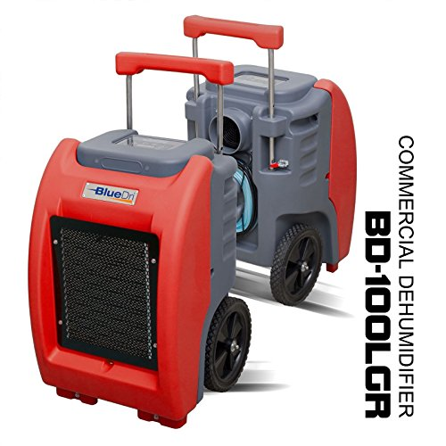 BlueDri BD-100LGR Red Commercial Dehumidifier for Water Damage Restoration Flood Moisture Mold Removal Water Treatment Janitorial Use