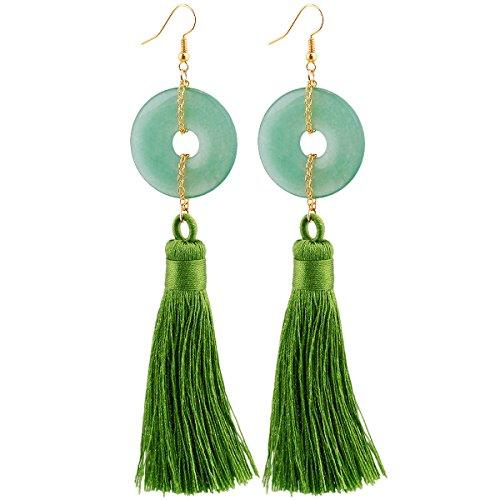 Donut Aventurine (SUNYIK Green Aventurine Round Donut Amulet Tassel Dangle Earrings for Women)
