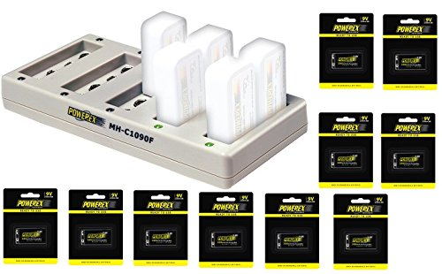 Powerex MH-C1090F Pro 10-Bank Rapid NiMH Battery Charger Bundle with Ten 9V Batteries by Powerex