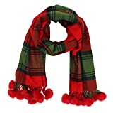 Cashmere Feel Plaid Scarf Wraps Plush Balls Scarves For Women Lightweight