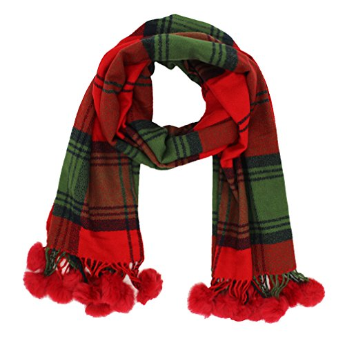 Cashmere Feel Plaid Scarf Wraps Plush Balls Scarves For Women Lightweight by JAWEAVER