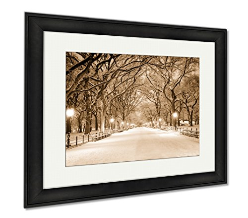 Ashley Framed Prints Central Park Ny Covered In Snow At Dawn, Wall Art Home Decoration, Sepia, 26x30 (frame size), Black Frame, - Promenade Shops Mall