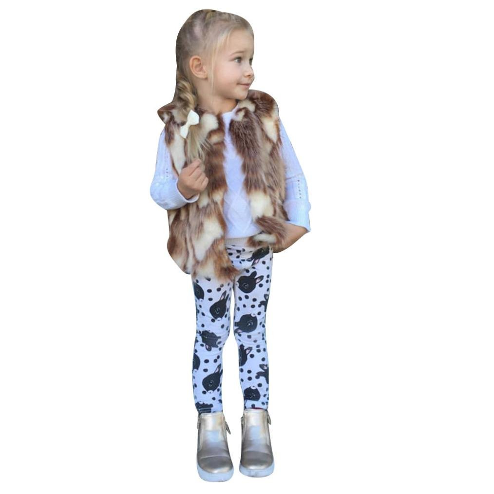 FEITONG Toddler Little Girls Winter Warm Clothes Waistcoat Thick Coat Outwear (4Year, Brown)
