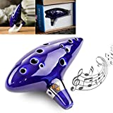 OriGlam Legend of Zelda Ocarina of Time Triforce Link 12 Hole Alto C Mediant Tone Ocarina Zelda Cosplay Ceramic Replica