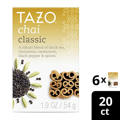 Tazo Black tea for a delightful cup of chai Classic Chai serve hot or iced 20 count pack of 6 (Classic Chai Latte)
