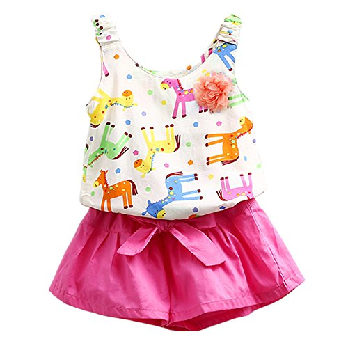 [LittleSpring Little Girls' Shorts Set Animal Printing Flower Size 6 Rose-red] (50 Outfits For Kids)