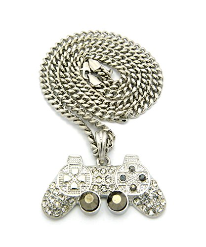 Iced Out Game Controller Micro Pendant with 5mm 24