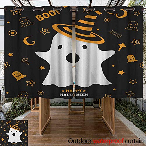 RenteriaDecor Outdoor Curtains for Patio Sheer Halloween Ghost W96 x L72