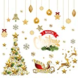 Merry Christmas Window Wall Sticker Christmas Tree Deer SnowflakeStar Bell Decoration Decal Home Decor Xmas (Red, Picture)