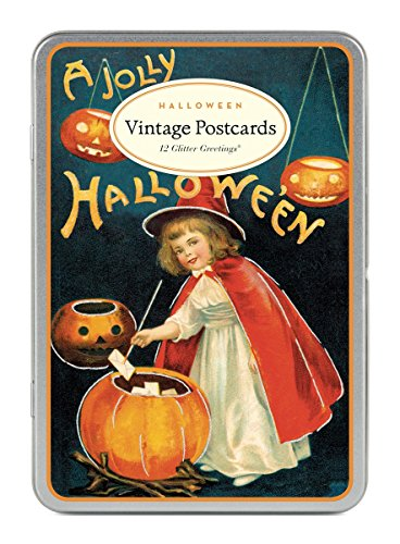 Cavallini & Co. Halloween Glitter Greetings Vintage Postcard Set