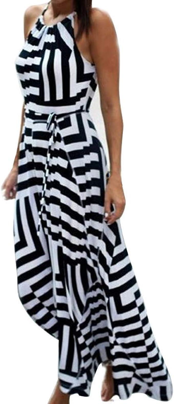Oksea Damen Streifen Maxi Sommerkleid Sommerkleid Damen lang Maxi