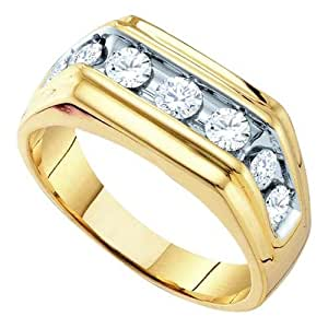 1.00ctw Mens Round Diamond Ring Wedding Band