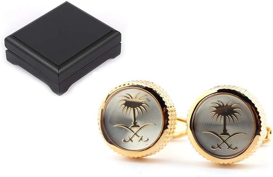 N/B Gemelos de Oro Mr Classic Fashion Gemelos Set Joyas de Piedras Preciosas Reiki para Hombres Caja de Reloj de Boda de Negocios
