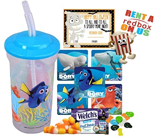 Finding Dory Halloween Redbox Movie Night Fun Sip Favor Cup! Pre-Filled & Ready For Giving! Includes Keepsake Tumbler, Redbox Rental, Popcorn, Candy & Favors! -