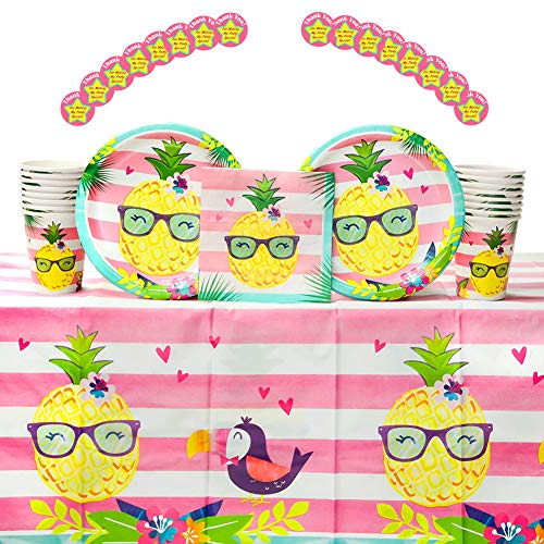 Pineapple n' Friends Luau Birthday Party Supplies Pack for 16 Guests | Stickers, 16 Dinner Plates, 16 Luncheon Napkins, 1 Table Cover, and 16 Cups |Pineapple, Toucan, Flamingo Design | Summer Fun