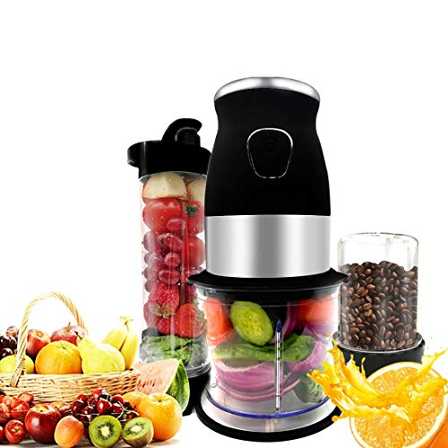 Smoothie Blender,3-in-1 Home Blender With Pepper Coffee Grinder - Stainless Steel Body,With 570ml Portable BPA-Free Bottle, 300 Watt
