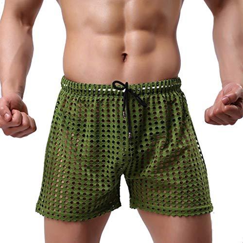 - Jhualeek Mens Hollow Openwork Drawstring Lounge Underwear Boxer Shorts Trunk Shorts Green