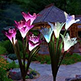Modern Life-styles Outdoor Solar Flower Garden Decoration – 2 Pack Solar Powered Garden Light Stake with 8 Lily Flowers, Multi Color Changing LED Solar Stake Lights for Garden, Patio, Backyard Review