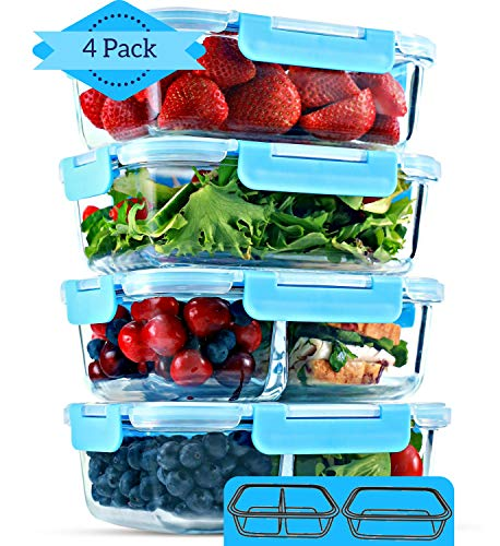 1 & 2 Compartment Glass Meal Prep Containers [4 Pack, 35 ounces] - Glass Lunch Containers, Glass Food Storage Containers with Lids, Food Prep Containers, Bento Boxes for Adults, Lunch Box, Airtight (Best Healthy Food For Lunch)