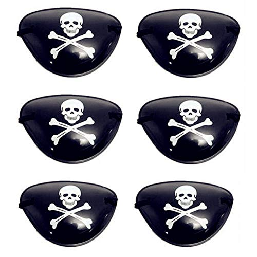 Fellibay Pirate Skull Eye Patch Party Eye Mask for Halloween Costume Prop(6Pack) -