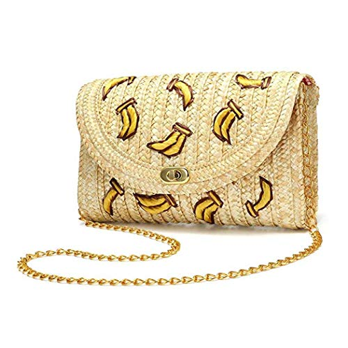 Straw Clutch Handbag, Straw Crossbody Bag Summer Beach Handbag Straw Purse Envelope Bag Wallet For Women (Banana)