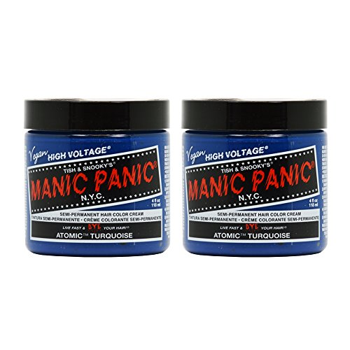 Manic Panic Semi-Permanent Hair Color Cream ATOMIC TURQUOISE 4 oz ''Pack of 2'' by Manic Panic