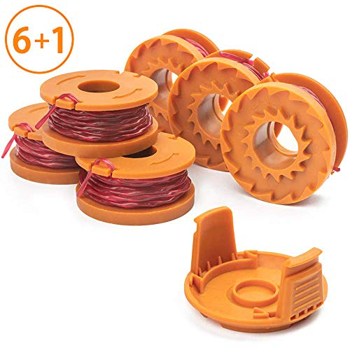 X Home Edger Spools Compatible with Worx WG180 WG163 WA0010 Weed Wacker, Eater String Trimmer Replacement Spools Line Refills 10ft 0.065 inch Autofeed, with WA6531 GT Spool Covers (6 Spools, -
