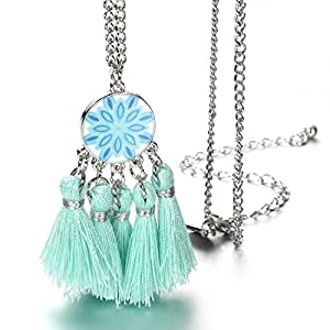 Onnea Blue Tassels Pendant Necklace Jewellery for Baby and Girls (Blue tassel necklace)